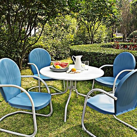 Enjoyable Griffith 5 Piece Sky Blue Retro Outdoor Dining Set Interior Design Ideas Clesiryabchikinfo